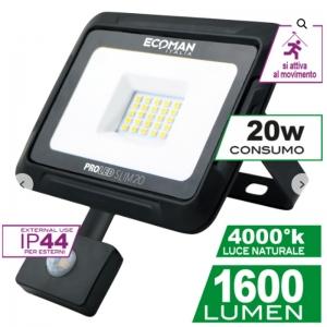 ECOMAN LED PROIETTORE SENSOR NERO 20W 4000K IP44