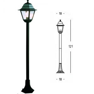 LAMPIONE MINI QUADRA H 121 60W NERO 92600