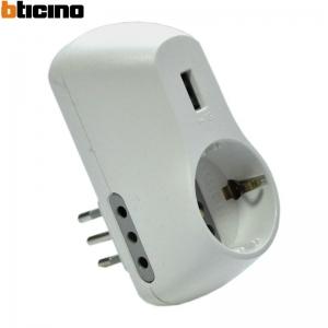 ADATTATORE ALIMENTATO TRIPLO E USB BTICINO S3613